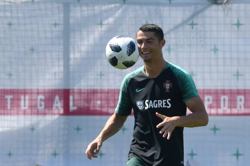 dcb63ec5e035 TOPSHOT - Portugal's forward Cristiano Ronaldo attends a training session  at the team's base in Kratovo