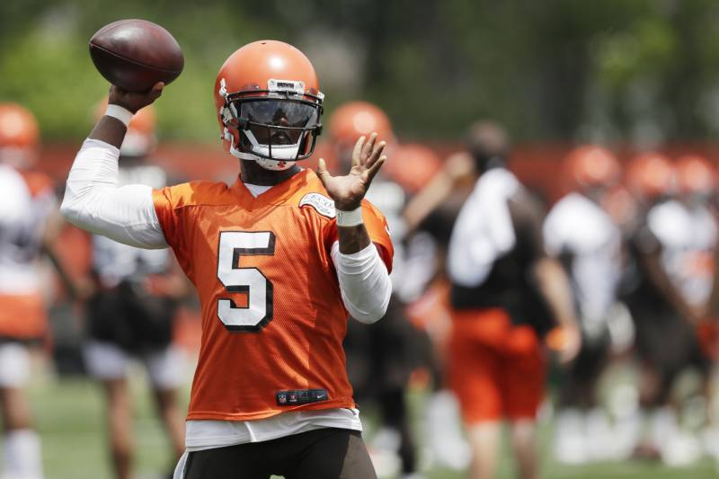 edd3581be5e Cleveland Browns quarterback Tyrod Taylor throws during practice at the NFL  football team s training camp facility