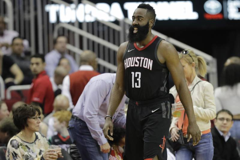 d63883df7905 Houston Rockets  James Harden gathers himself after being fouled by Detroit  Pistons  Blake Griffin
