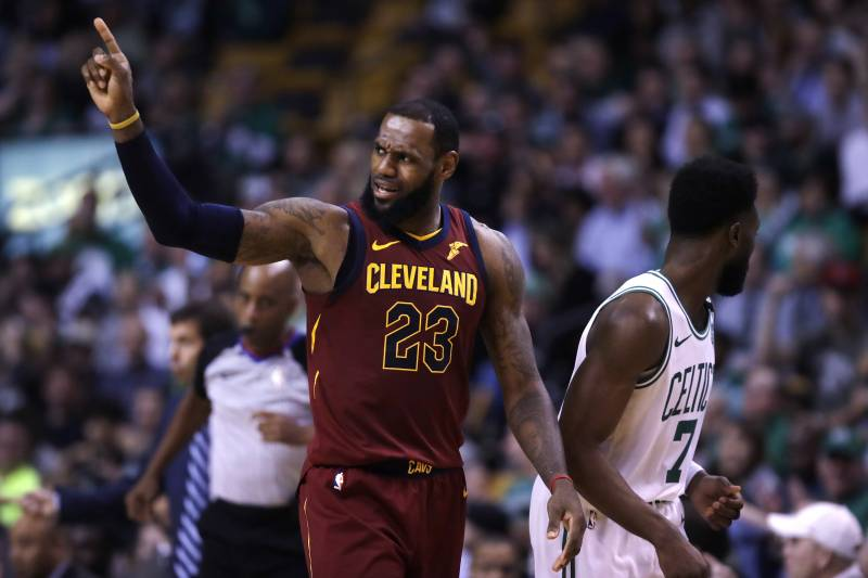 f4410ccda239 Cleveland Cavalier s LeBron James gestures during Game 2 of the Eastern  Conference basketball finals in Boston