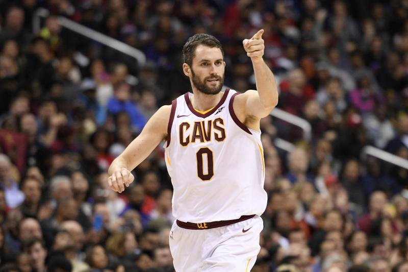 cdc87b12cca3 Cleveland Cavaliers forward Kevin Love (0) points after he scored during  the second half