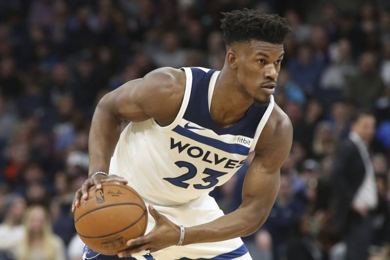 8205f53f7043 Minnesota Timberwolves  Jimmy Butler plays against the Los Angeles Lakers  in the first half of
