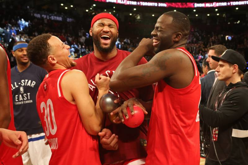 8953e045db0 Cousins enjoying the company of new teammates Steph Curry and Draymond  Green at a past All