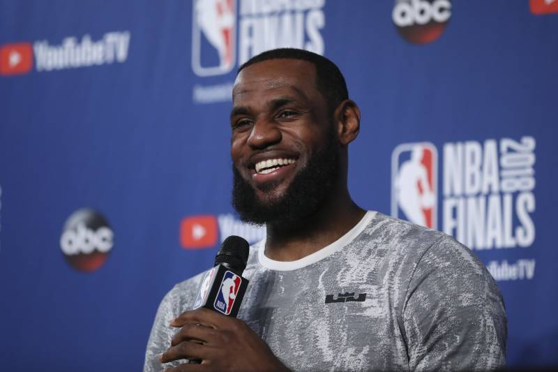 1d827c29681f Cleveland Cavaliers forward LeBron James takes questions at a press  conference after the basketball team s practiced
