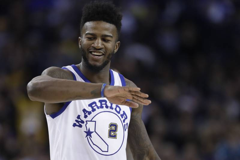 76f2eb4ec479 Golden State Warriors forward Jordan Bell (2) reacts after scoring against  the Los Angeles