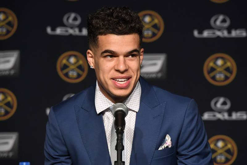 DENVER, CO - JUNE 22: Denver Nuggets draft pick, Michael Porter Jr., is introduced during a press conference on June 22, 2018 at the Pepsi Center in Denver, Colorado. NOTE TO USER: User expressly acknowledges and agrees that, by downloading and/or using this photograph, user is consenting to the terms and conditions of the Getty Images License Agreement.