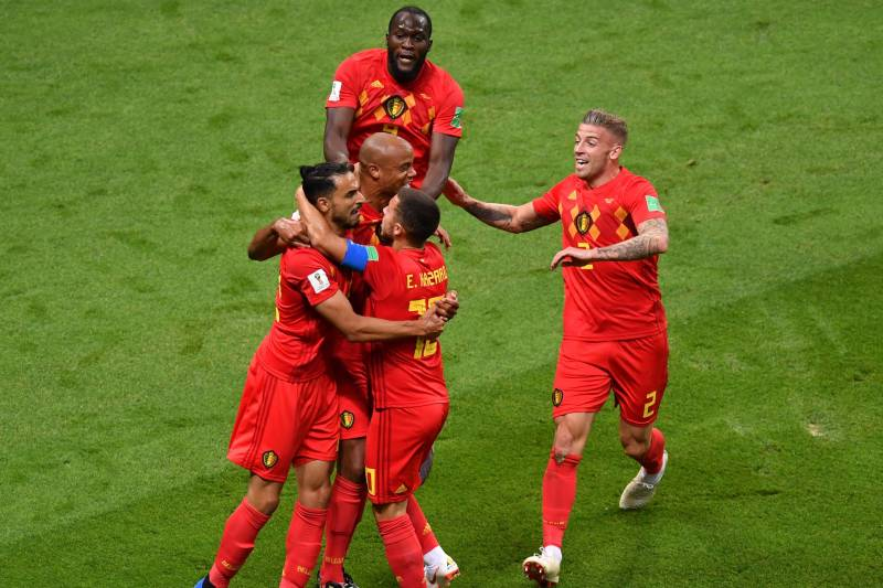 23ae71fff8b Belgium s players celebrate Brazil s own goal during the Russia 2018 World  Cup quarter-final football