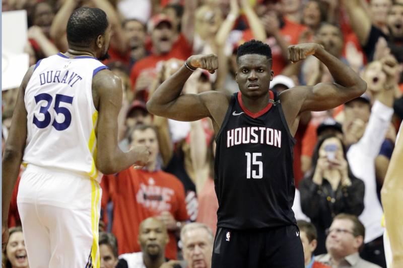 0e027e1f7b7f Houston Rockets center Clint Capela (15) celebrates after he scored against  Golden State Warriors