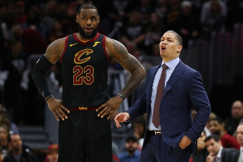 88e43f56601 CLEVELAND, OH - APRIL 29: LeBron James #23 of the Cleveland Cavaliers and