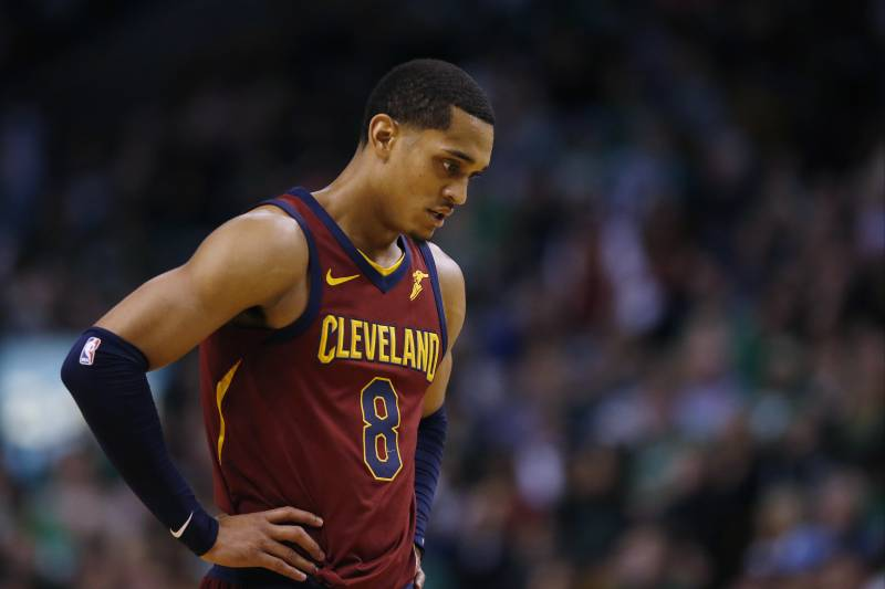 reputable site 76104 b4896 Cleveland Cavaliers guard Jordan Clarkson (8) walks up the court during  Game 1 of