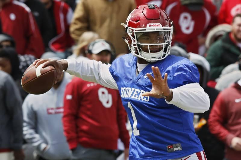 dbea663e9e4 Oklahoma quarterback Kyler Murray (1) passes during an NCAA college  football spring intrasquad game