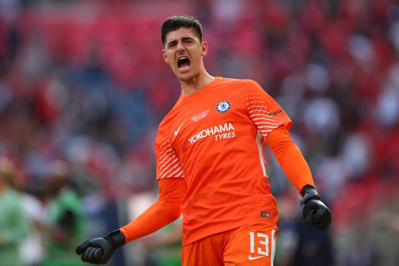194a909de42 LONDON, ENGLAND - MAY 19: Thibaut Courtois of Chelsea celebrates at the end  of