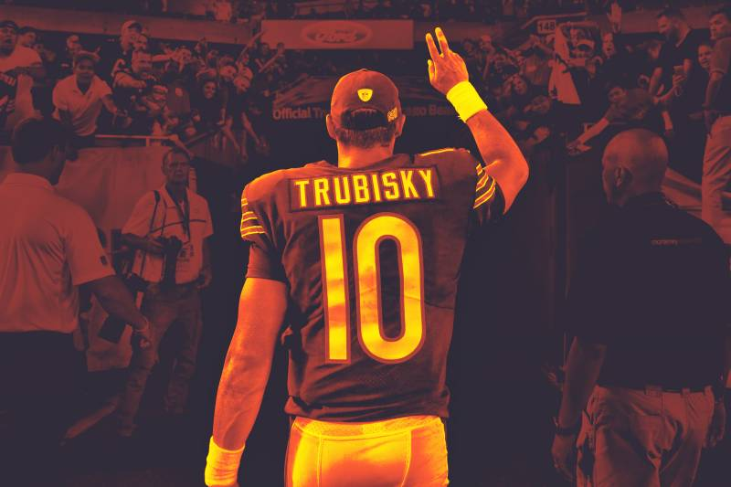 95ce78e0a59 Chicago Bears quarterback Mitchell Trubisky (10) shakes hands with fans  after beating the Cleveland