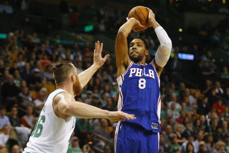 2ec0ad02de1 Philadelphia 76ers  Jahlil Okafor shoots against the Boston Celtics during  the first quarter of a