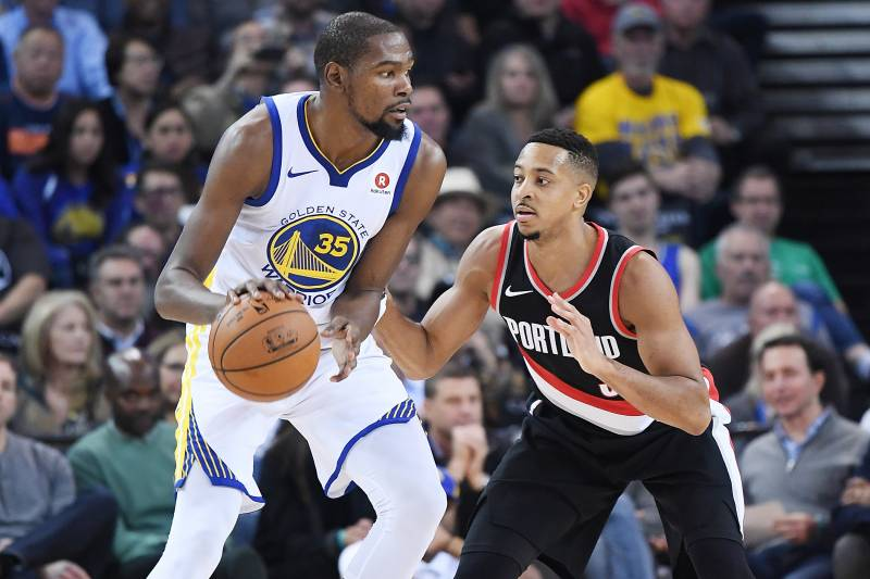 a8ac538f186a Kevin Durant Laughs at CJ McCollum Suggesting Blazers Could Win NBA Title
