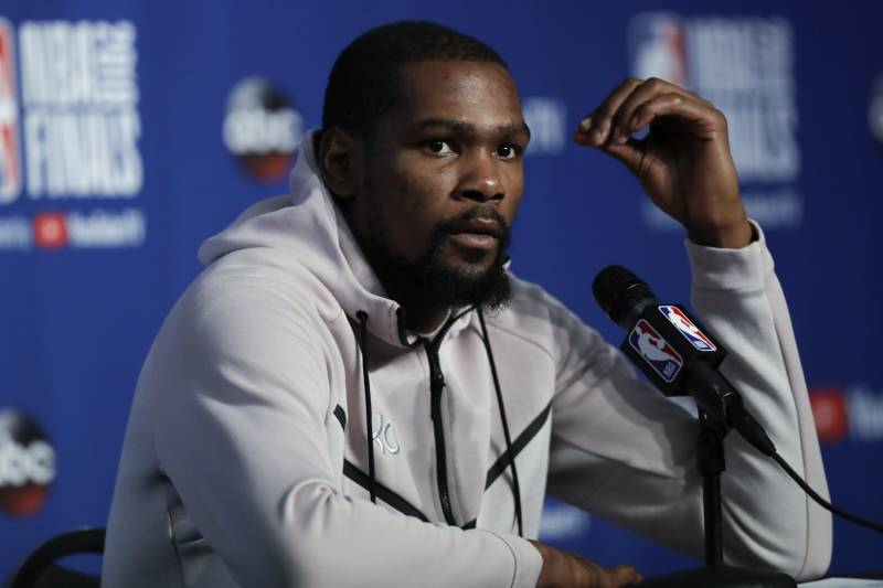 d95effd0d42 Golden State Warriors forward Kevin Durant attends a news conference  following Game 3 of basketball s NBA