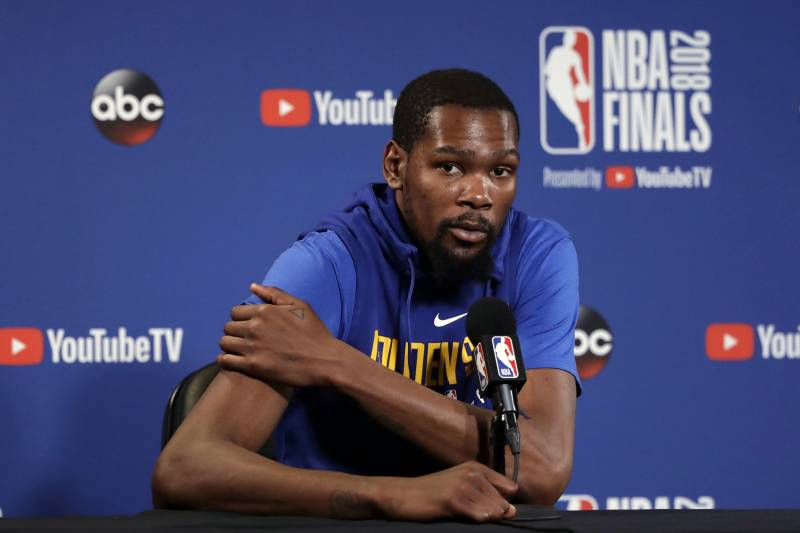 1a4022d1a5a8 Golden State Warriors  Kevin Durant answers questions after an NBA  basketball practice