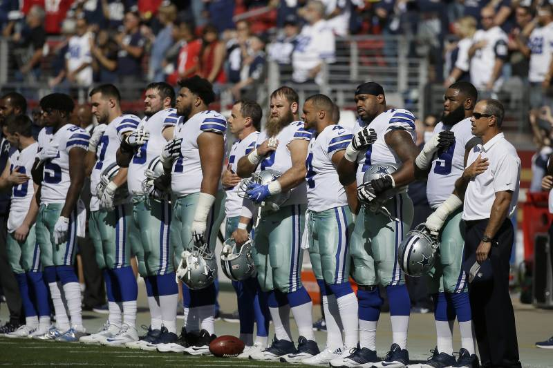 3d11c6d6b5a Dallas Cowboys players stand during the performance of the national anthem  before an NFL football game
