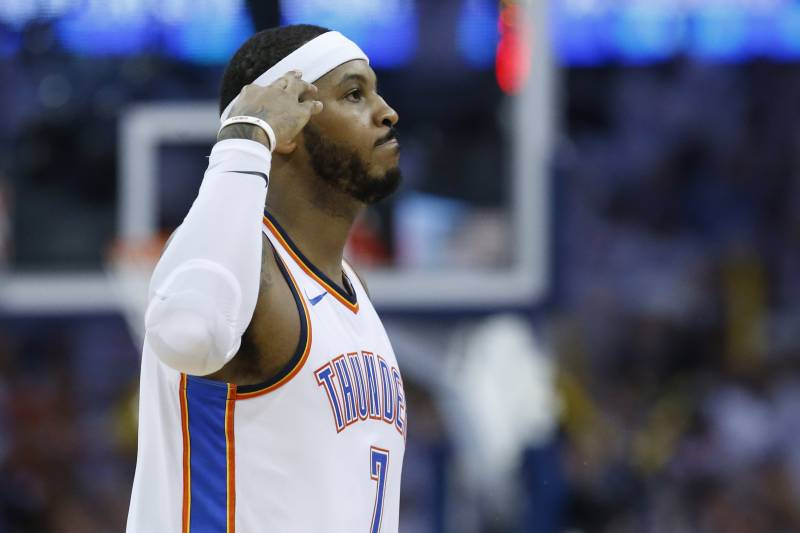 3419418e7d1 Oklahoma City Thunder forward Carmelo Anthony gestures following a  three-point basket during Game 2. Sue Ogrocki Associated Press