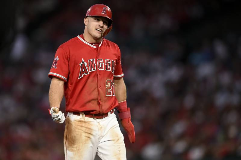 b5e4c303d Los Angeles Angels center fielder Mike Trout in action during the sixth  inning of a baseball