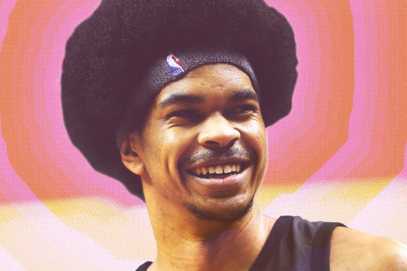 Brooklyn Nets center Jarrett Allen reacts during the first half of an NBA basketball game against the Indiana Pacers, Wednesday, Feb. 14, 2018, in New York. (AP Photo/Mary Altaffer)