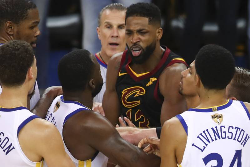 fd9c64f78808 Cleveland Cavaliers center Tristan Thompson, facing, confronts Golden State  Warriors forward Draymond Green,