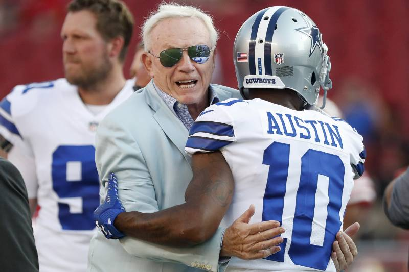 69997f6149e Dallas Cowboys owner Jerry Jones, center, hugs running back Tavon Austin  (10)