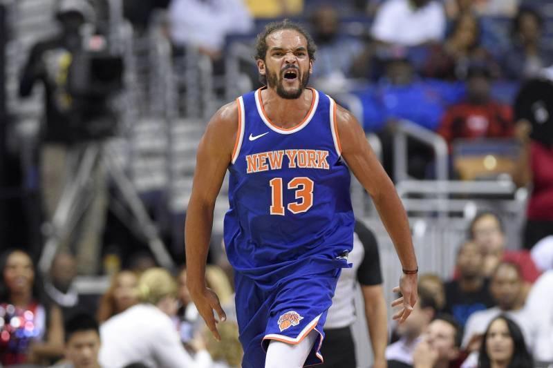 e5c4bfe01ba New York Knicks center Joakim Noah (13) reacts during the second half of a