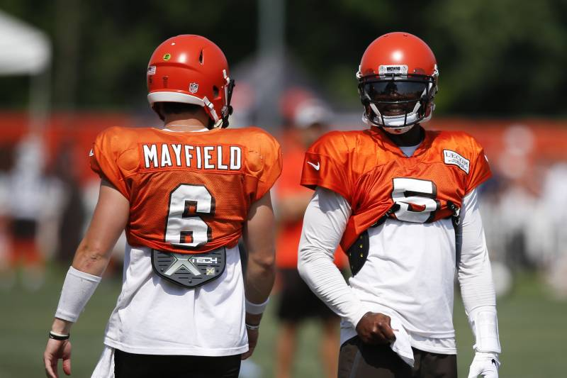 70108f40fd6 Cleveland Browns quarterback Tyrod Taylor (5) talks with Baker Mayfield (6)  during