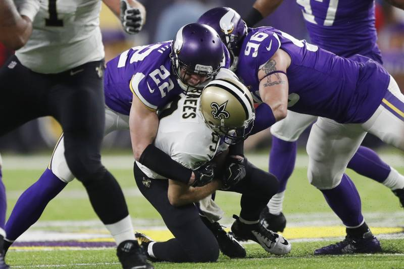 c2745adff New Orleans Saints quarterback Drew Brees (9) is sacked by Minnesota Vikings  free safety