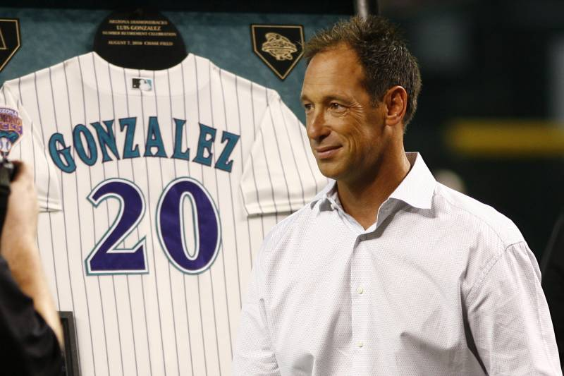 Luis Gonzalez gets his number twenty retired by the Arizona Diamondbacks before a game against the San Diego Padres on Saturday, Aug. 7, 2010, in Phoenix. (AP Photo/Rick Scuteri)