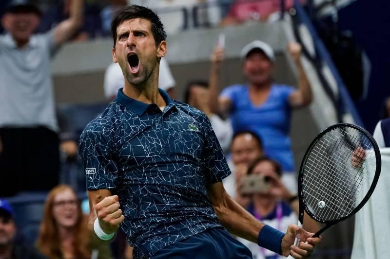 54455d8e5edd Novak Djokovic of Serbia celebrates a point against Richard Gasquet of  France during their 2018 US