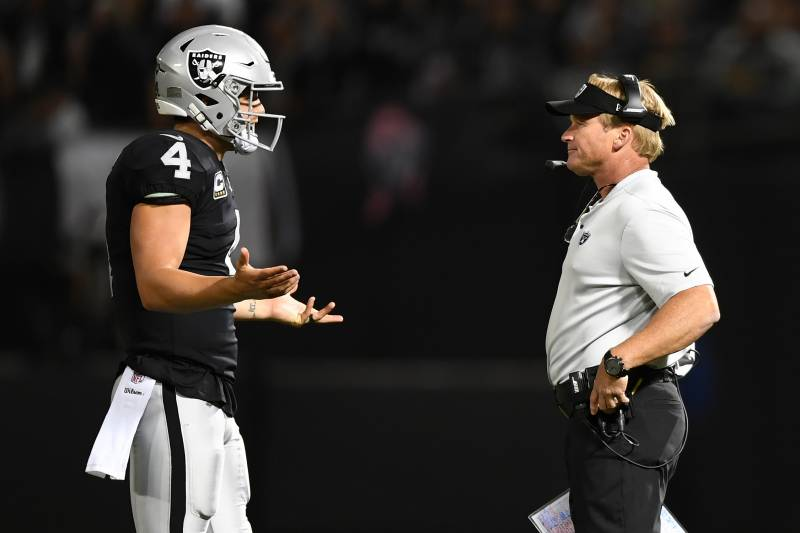 42db03612b45 Derek Carr Spoils Jon Gruden s Impressive Coaching Return