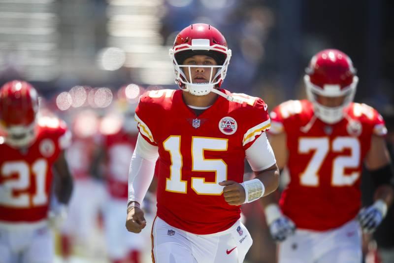 52db42d86c5 Kansas City Chiefs quarterback Patrick Mahomes runs onto the field before  an NFL football game against
