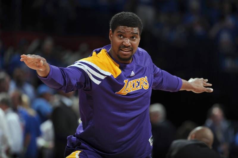 d618114e997 OKLAHOMA CITY, OK - MAY 21: Andrew Bynum #17 of the Los Angeles. Garrett  Ellwood/Getty Images. Former Los Angeles Lakers center ...