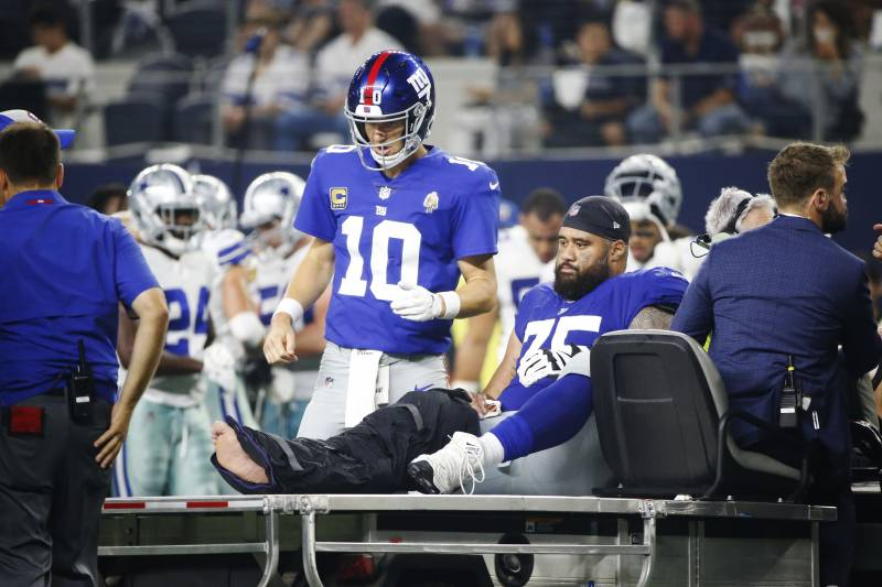 detailed look ab8f0 d2da7 Report: Giants C Jon Halapio's Ankle Injury Diagnosed as ...
