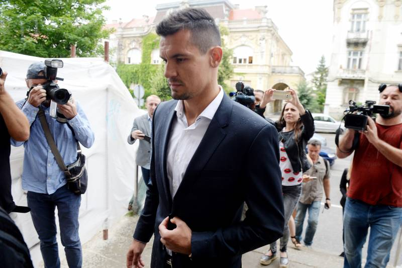 fcfef2a54 Liverpool defender Dejan Lovren arrives at a tribunal in the eastern  Croatian town of Osijek on