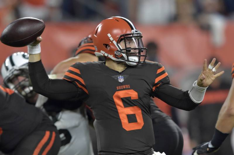 3a9cc8c94 Cleveland Browns quarterback Baker Mayfield throws a pass against the New  York Jets during the first