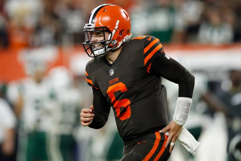 0509e6aea85 CLEVELAND, OH - SEPTEMBER 20: Baker Mayfield #6 of the Cleveland Browns  celebrates