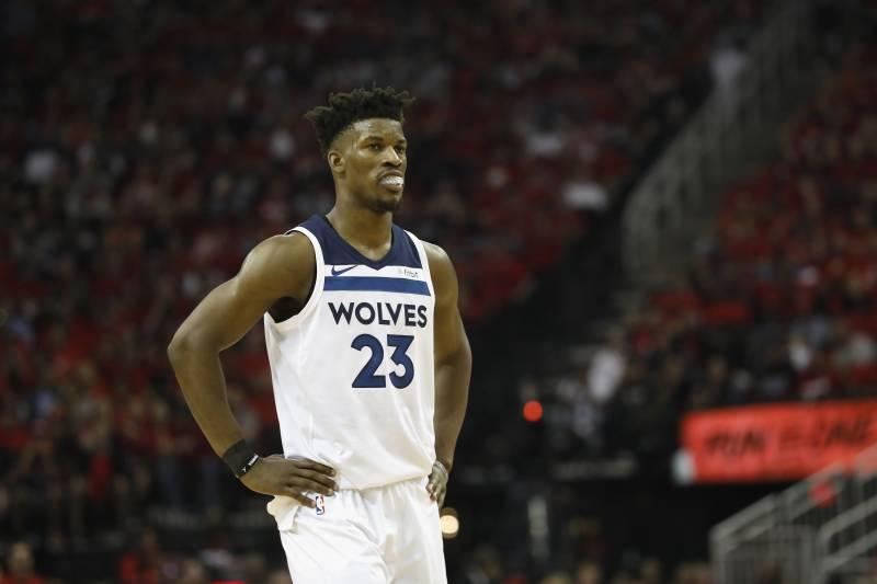 7eb23e87caf HOUSTON, TX - APRIL 25: Jimmy Butler #23 of the Minnesota Timberwolves  reacts