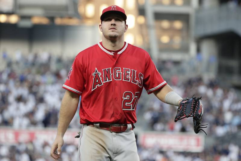 156178046 Los Angeles Angels  Mike Trout walks to the dugout after the second inning  of the