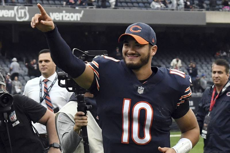 Chicago Bears quarterback Mitchell Trubisky (10) celebrates after an NFL  football game against the 40535dd7f