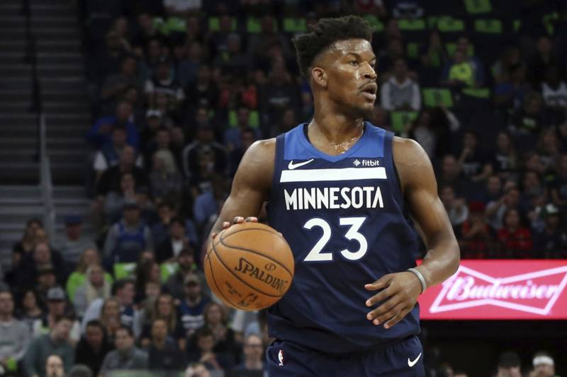 b64d2f45f9be21 Minnesota Timberwolves  Jimmy Butler plays against the Houston Rockets  during the first half of Game