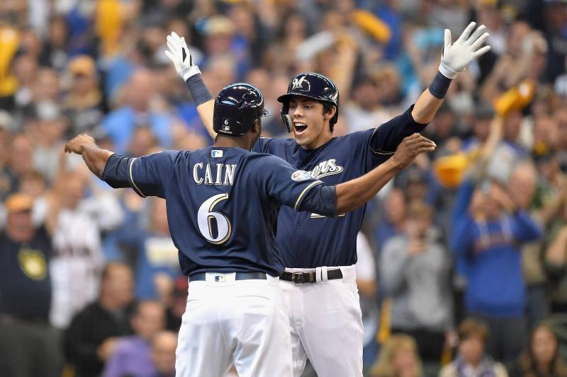 online retailer 54436 d00cb Mike Moustakas Walk-Off Hit Hands Brewers Dramatic Game 1 ...