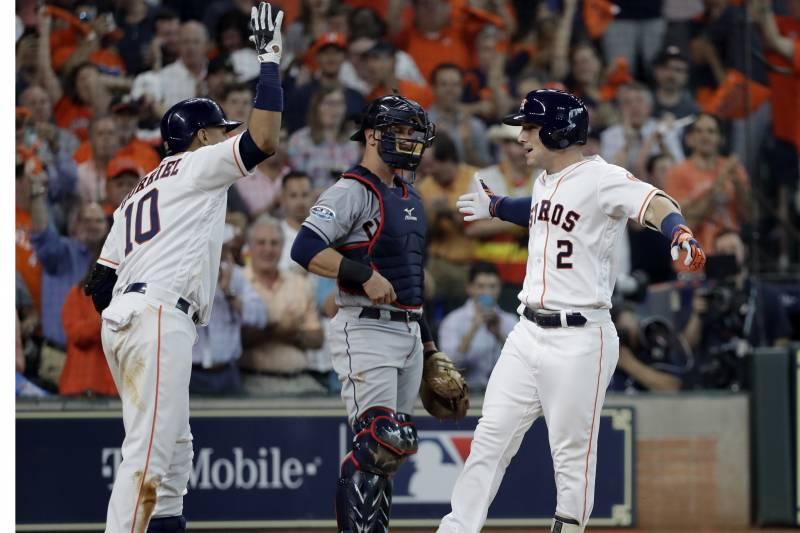 bfbbbc015 Houston Astros  Alex Bregman (2) celebrates his solo home run with teammate  Yuli