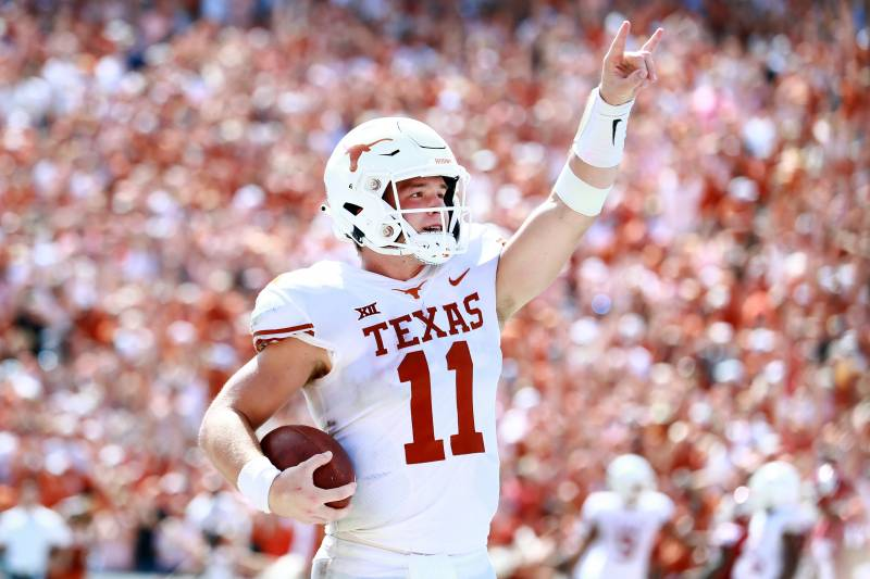 88c39645770 DALLAS, TX - OCTOBER 06: Sam Ehlinger #11 of the Texas Longhorns  celebrates. Tom Pennington/Getty Images. Week 6 of the 2018 college  football season ...