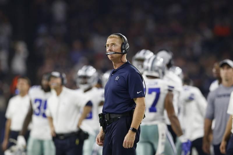 bac3283c4e7 HOUSTON, TX - OCTOBER 07: Head coach Jason Garrett of the Dallas Cowboys  looks