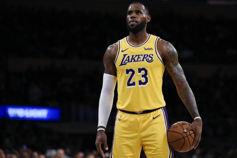 d46f0510e46c Los Angeles Lakers forward LeBron James attempts a free throw during the  first half of an