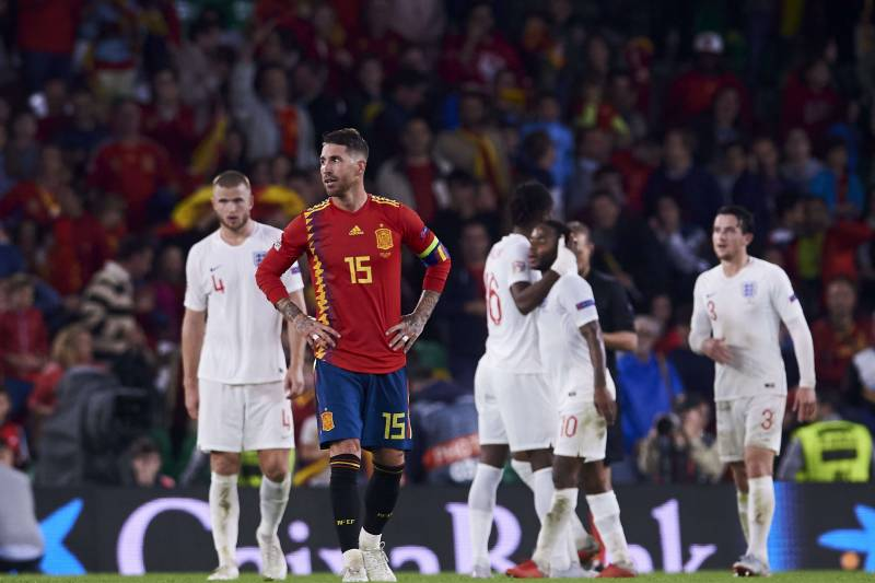742c430f9f8 SEVILLE, SPAIN - OCTOBER 15: Sergio Ramos of Spain reacts during the UEFA  Nations