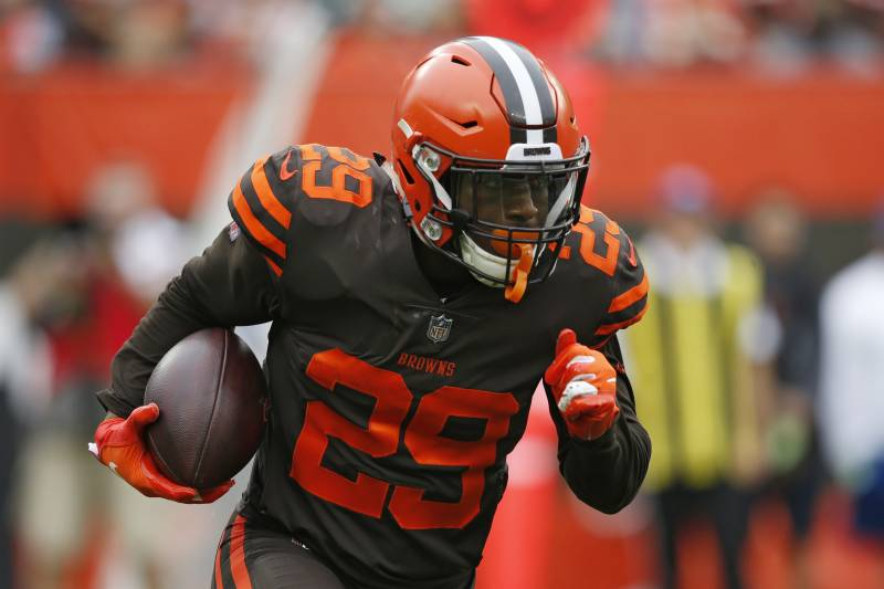 5de94fd9732 Cleveland Browns running back Duke Johnson rushes during the first half of  an NFL football game